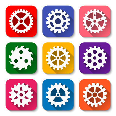 millimeter: Set of flat gear icons with long shadows. Engineering icon set. Technology equipment. illustration.