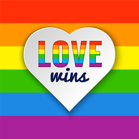 sexuality: Rainbow flag. Heart background with Love Wins text. illustration in LGBT colors. Gay culture symbol, horizontal rainbow
