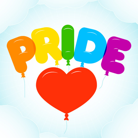 bubble letters: Balloon Lettering for Pride Month.  Rounded, semi-transparent, bubble letters on a blue sky backgroung with clouds. illustration in LGBT colors. Gay culture symbol, rainbow text