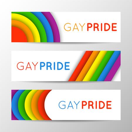 프라이드 달에 대 한 현대 다채로운 가로 배너의 집합입니다. LGBT 색상에서 벡터 일러스트 레이 션. 게이 문화 기호, 레인 보우 텍스트입니다. 게이 프 일러스트