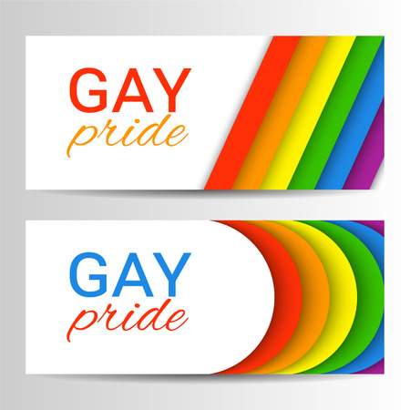 Set of modern colorful horizontal banners for Pride Month. Vector illustration in LGBT colors. Gay culture symbol, rainbow text. Gay Pride. Can be used in a web design. Иллюстрация