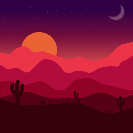 arizona sunset: Desert sunset. Vector mexican landscape illustration with cactuses, dunes, rocks, sun and moon in red, orange and purple colors.