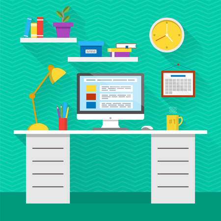 pencil and paper: Flat design vector illustration of modern office interior. Creative cartoon office workspace with computer, calendar, books, plants, mug. Flat minimalistic style and color, long shadows. Illustration