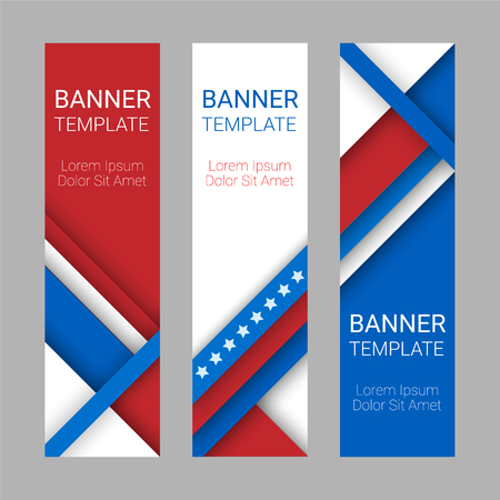 flag banner: Set of modern vector vertical banners, page headers with stripes and stars in the colors of the American flag. Material design banners for Presidents day, USA Independence day