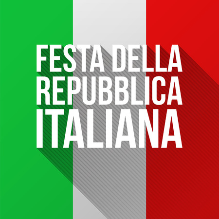 celebrated: Text Italian Republic Day with long shadows. Modern flat vector illustration for National Day of Italy celebrated on 2 June Illustration