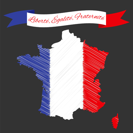 fraternity: Vector Illustration for National Day of France celebrated on 14 July, Bastille Day. Ribbon with text Liberty, Equality, Fraternity. France map in colors of national flag. Illustration