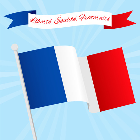 fraternity: Vector Illustration for National Day of France celebrated on 14 July, Bastille Day. Ribbon with text Liberty, Equality, Fraternity. Poster, flyer template with French flag on a blue sky background