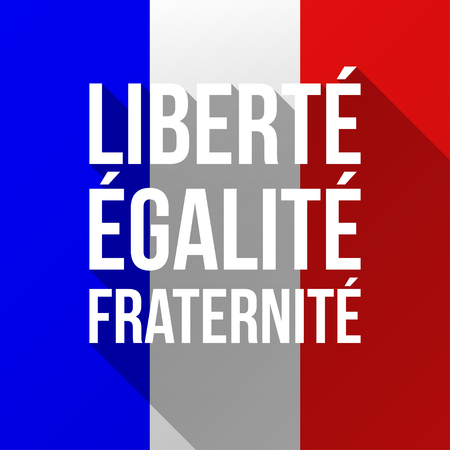 fraternity: Vector Illustration for National Day of France celebrated on 14 July, Bastille Day. Text Liberty, Equality, Fraternity. Poster, flyer, greeting card template with French flag