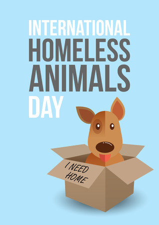 shelter: International homeless animals day. Cute dog in a box whith I Need Home text. Pets adoption concept. Flyer, poster template. Vector illustration