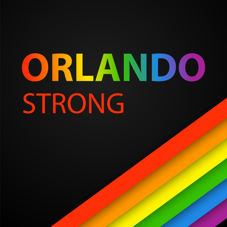 Vector illustration in LGBT colors with Orlando Strong text. Symbol of peace, gay culture. Rainbow template, paper layers. Pride Month. Gay culture symbol against violence. Illustration