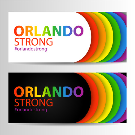 Horizontal banners in LGBT colors with Orlando Strong text. Symbol of peace, gay culture. Rainbow template, paper layers. Pride Month. Gay culture symbol against violence. Can be used in a web design.