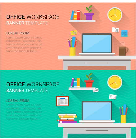 clock work: Flat design vector horizontal banners of modern office interior. Creative cartoon workspace with computer, notes, folders, books, plants, mug, calendar, clock. Minimalistic style and color