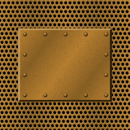 metallic grunge: Rusty perforated Metal Background with plate and rivets. Metallic grunge texture. Brass, copper latticed template. Abstract techno vector illustration.