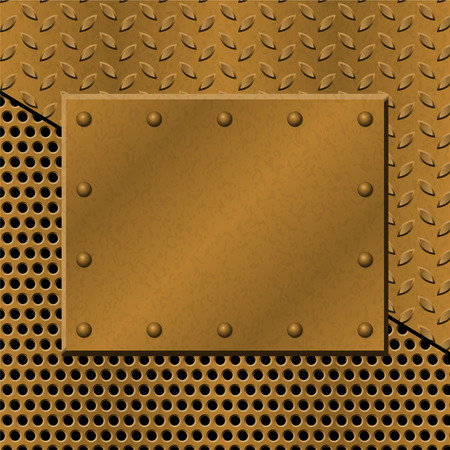 perforated: Rusty perforated Metal Background with plate and rivets. Metallic grunge texture. Brass, copper latticed template. Abstract techno illustration. Illustration