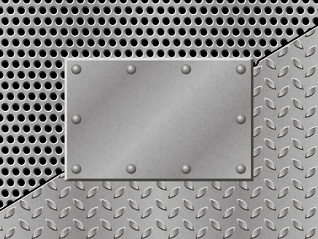 metallic grunge: Rusty perforated Metal Background with plate and rivets. Metallic grunge texture. Steel, iron, aluminum surface template. Abstract techno illustration.