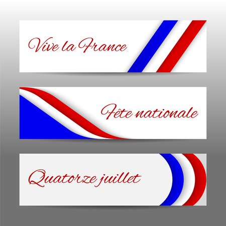 long live: Set of modern colorful horizontal banners, page headers with text 14 July, National Day, long live the France. Web banners for Bastille Day celebration in colors of french flag.