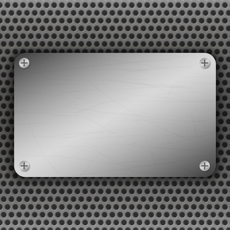 brushed aluminum: Perforated Metal Background with plate and rivets. Metallic grunge texture. Brushed Steel, iron, aluminum surface template. Abstract techno illustration. Illustration