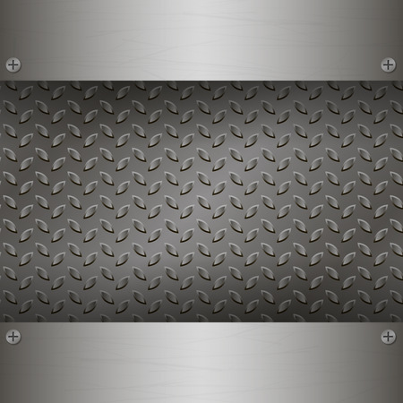 brushed aluminum: Dark Metal Background with plates and rivets. Brushed Steel, iron, aluminum surface template. Metallic grunge texture. Abstract techno  illustration.
