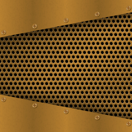 metallic grunge: Rusty perforated Metal Background with plate and rivets. Metallic grunge texture. Brass, copper latticed template. Abstract techno illustration. Illustration