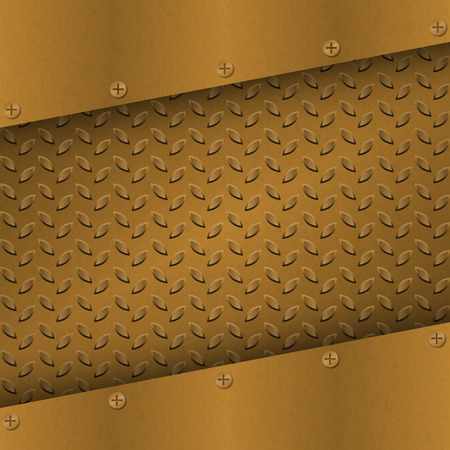 metallic grunge: Rusty Metal Background with plate and rivets. Metallic grunge texture. Brass, copper latticed template. Abstract techno vector illustration.
