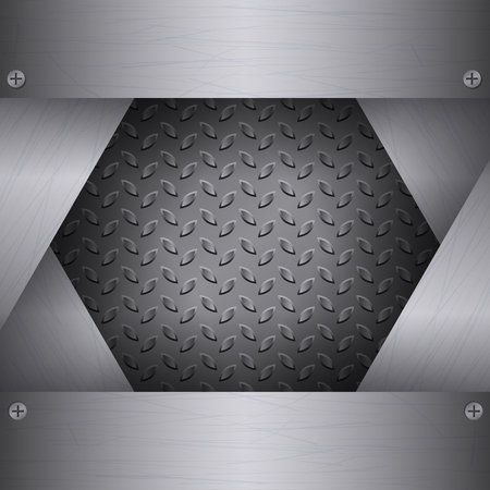 brushed aluminum: Dark Metal Background with plates and rivets. Brushed Steel, iron, aluminum surface template. Metallic grunge texture. Abstract techno vector illustration.