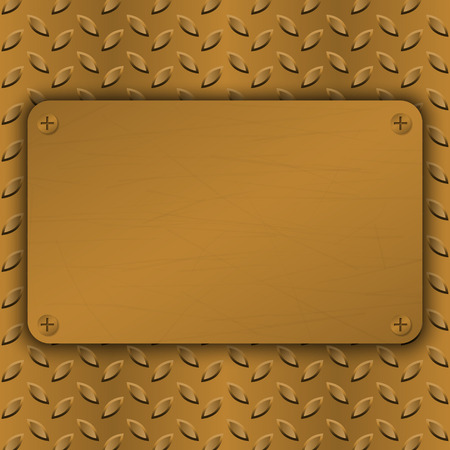 metallic grunge: Metal Background with plate and rivets. Metallic grunge texture. Brushed Brass, copper latticed surface template. Abstract industrial techno vector illustration.