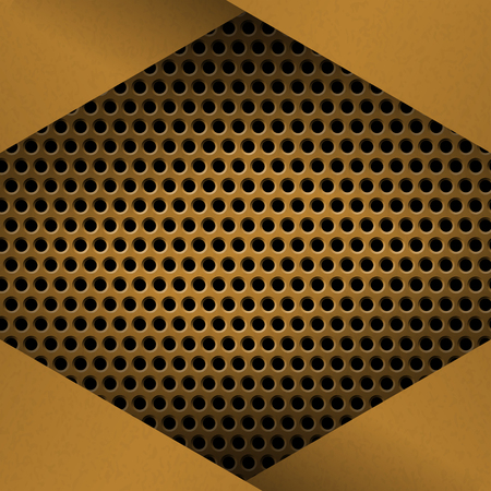 metallic grunge: Metal Background with plate and rivets. Perforated metallic grunge texture. Brushed Brass, copper latticed surface template. Abstract industrial techno vector illustration. Illustration
