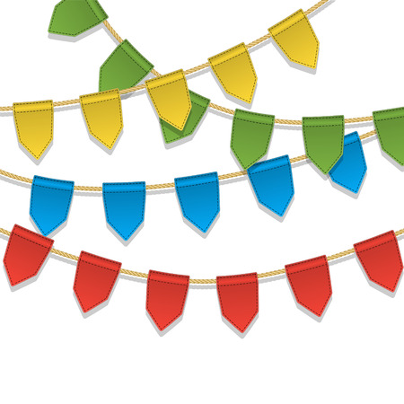 special events: Vector colorful bunting decoration, garland, pennants on a rope for birthday party, carnaval, festival, celebration, special events. Cute holiday background