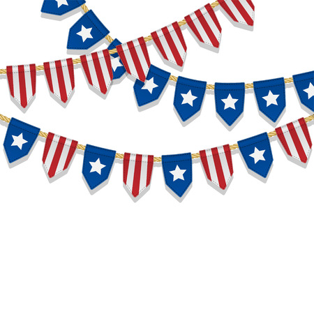 special events: Vector colorful bunting decoration in colors of USA flag. Garland, pennants on a rope for american party, carnival, festival, celebration, special events. Patriotic background with stars and stripes. Illustration