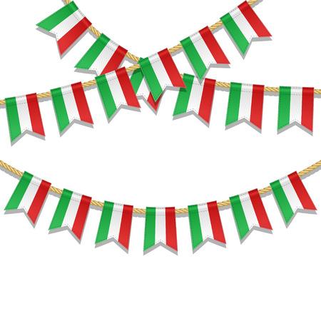 이탈리아 깃발의 색에 벡터 다채로운 깃발 장식. 갈 랜드, 파티, 카니발, 축제, 축하를위한 밧줄에 페넌트. 6 월 2 일 이탈리아 국경일의 벡터 일러스트
