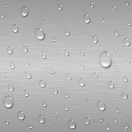liquid metal: Water drops on a brushed metal background. Rain condensation on a bright steel, iron, aluminum surface template. Liquid droplets. Light clean dew, rainy day, abstract techno vector illustration.