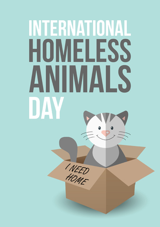 adoption: International homeless animals day. Cute cat in a box with I Need Home text. Pets adoption concept. Flyer, poster template. Vector illustration