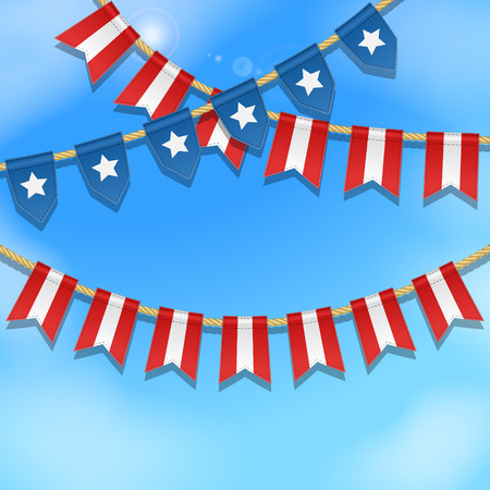 special events: Vector colorful bunting decoration in colors of USA flag on a blue sky background. Garland, pennants on a rope for american celebration, special events. Patriotic background with stars and stripes. Illustration