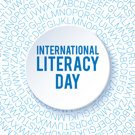 literacy: International Literacy Day background. Poster, flyer template. Education theme. Blue letters. Vector illustration Illustration