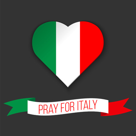 quake: Heart shape in colors of Italian flag. Ribbon with Pray For Italy text. Vector illustration. Message for victims of earthquake.