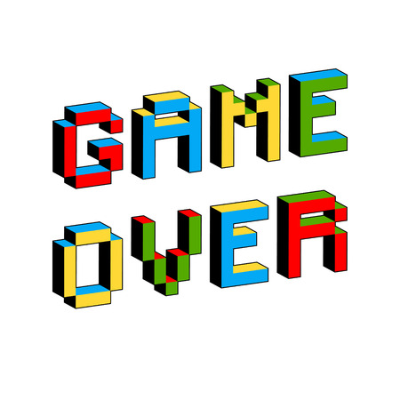 Game Over text in style of old 8-bit video games. Vibrant 3D Pixel Letters. Vector illustration. Flyer, poster template. Computer Program Screen