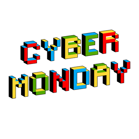 Cyber Monday background. Digital promo text in style of old 8-bit video games. Sale, discount theme. Vibrant 3D Pixel Letters. Vector illustration. Flyer, poster template.
