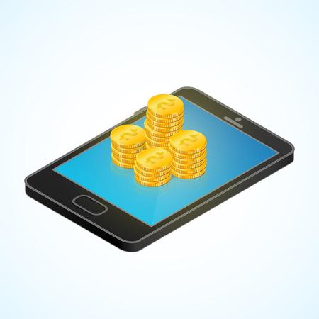 골드 동전 아이소 메트릭 스마트 폰입니다. 모바일 뱅킹 및 온라인 지불 개념입니다. 현대 비즈니스 플랫 웹 디자인을위한 3D 벡터 일러스트 레이 션. In