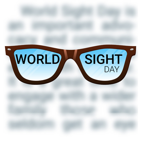 macular: World Sight Day background. Vector illustration with glasses. Fighting blindness, cataract, glaucoma, vision impairment. Eye health concept. Creative flyer, poster template for ophthalmology.