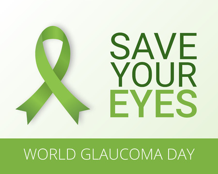 eye health: World Glaucoma Day background with green ribbon. Vector illustration. Fighting blindness, cataract, vision impairment. Eye health concept. Creative flyer, poster template for ophthalmology.