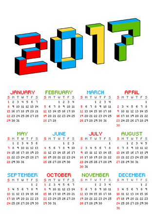 arcade games: 2017 calendar on a white background in style of old 8-bit video games. Week starts from Sunday. Vibrant colorful 3D Pixel Letters. Retro arcade. Holiday vector illustration.