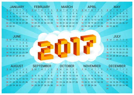 arcade: 2017 calendar on a blue background in style of old 8-bit video games. Week starts from Sunday. Vibrant colorful 3D Pixel Letters. Retro arcade. Holiday vector horizontal illustration. Illustration