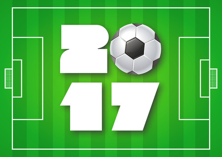 Greeting card for 2017 Year with soccer ball on bright green background. Sport, football, games theme. Modern Creative Vector Design Print Template. FLyer, poster layout. Holiday vector illustration.