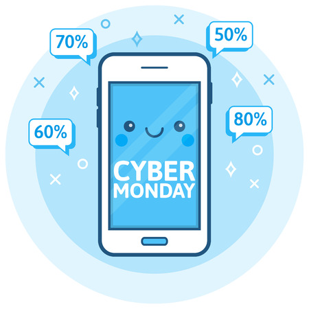 retailing: Cyber ??Monday sale background. Cute happy smartphone icon with speech bubbles. Online shopping concept. E-commerce, retailing, discount theme. Modern blue vector logo. Creative flyer, poster template.