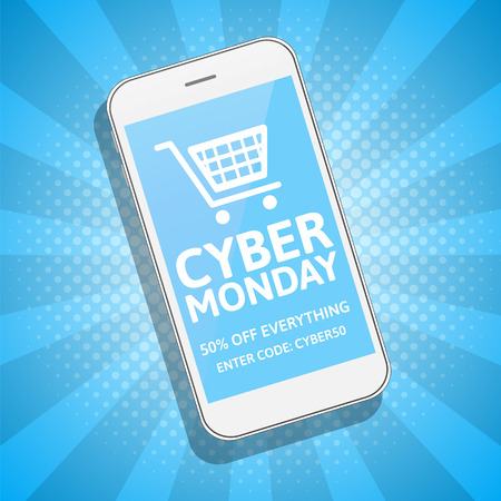 retailing: Cyber Monday sale blue background with smartphone. Online shopping concept. E-commerce, retailing, discount theme.