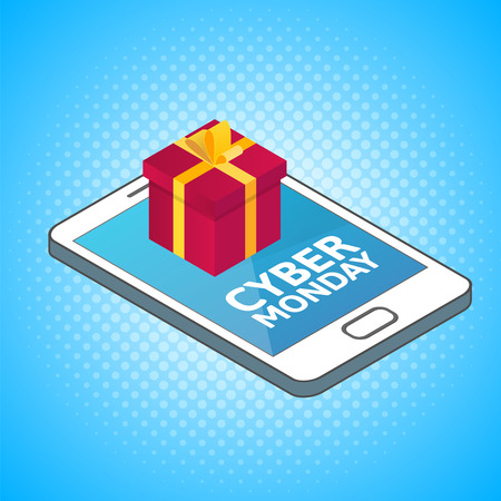 retailing: Cyber Monday background. Isometric smartphone with red gift box. Online shopping concept. Sale, e-commerce, retailing, discount theme.