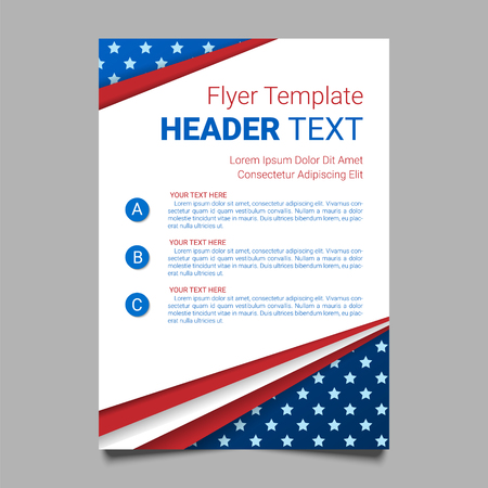 USA patriotic background. Vector illustration with text, stripes and stars for posters, flyers, decoration in colors of american flag. Colorful template for National celebrations, political campaigns. Çizim