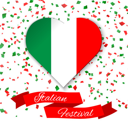 Heart in colors of italian flag with confetti. Greeting card, flyer, poster for National Day of Italy celebrated on 2 June. Ribbon with text Italian Festival. Colorful template for celebrations