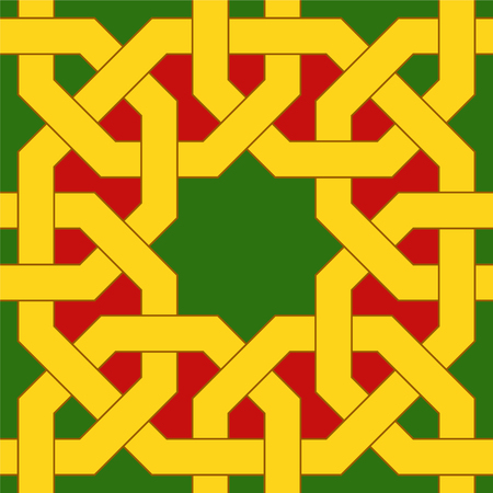 Islamic geometric pattern. Muslim mosaic. Oriental seamless ornaments based on traditional arabic art. Colorful vector illustration. Green, red and yellow arabian tile. Mosque decoration element. Illustration