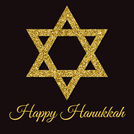 Happy Hanukkah greeting card. Star of David with gold glitter effect. Traditional Jewish symbol. Creative holiday vector illustration on a dark background. Flyer, poster template for celebration.